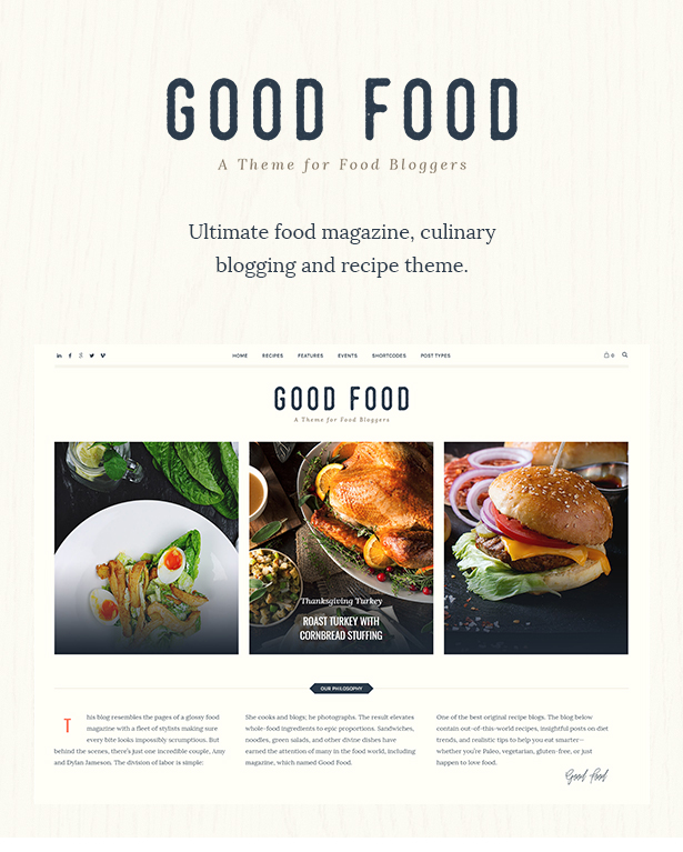 Good food recipe magazine food blogging theme by cmsmasters your recipe of good food food culinary food blog forumfinder Gallery
