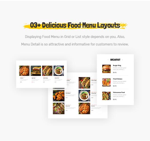 Foodo Menu Layouts- Fast Food Restaurant WordPress Theme