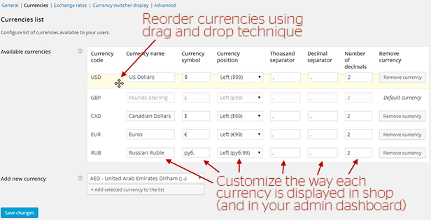 WooCommerce All in One Currency Converter - settings screen