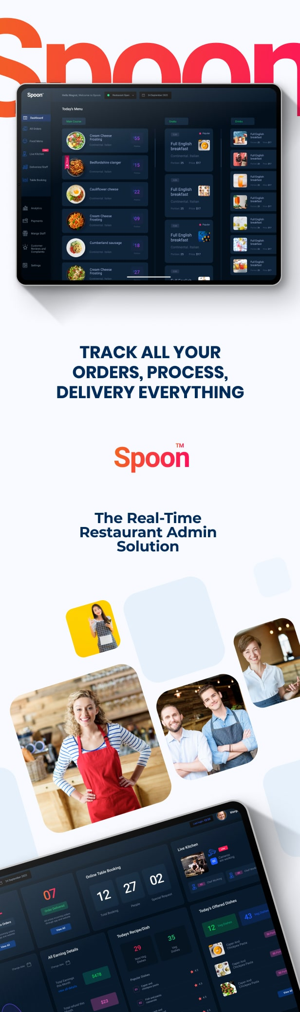 Spoon | Restaurant SaaS Dashboard Figma Design Templates - 1