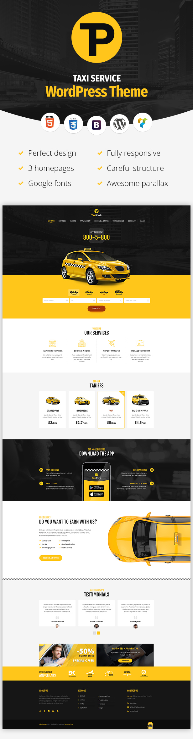 TaxiPark - Taxi Cab Service Company WordPress Theme - 3