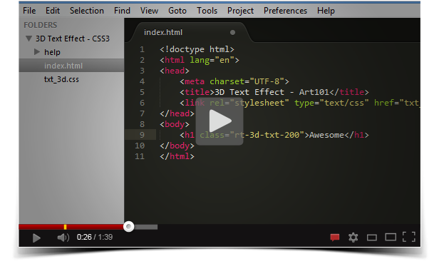 youtube - CSS3 3D Text Effect