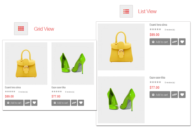 Love Fashion - Grid and List view