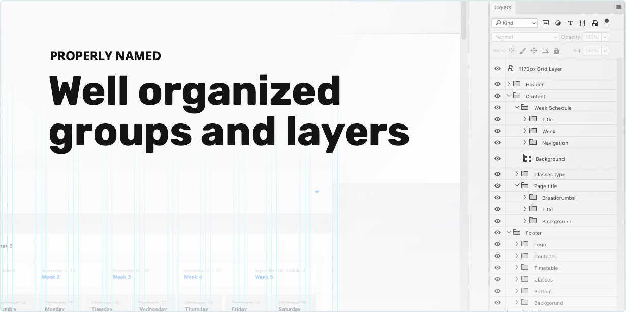 Properly Named and Well Organized Groups and Layers