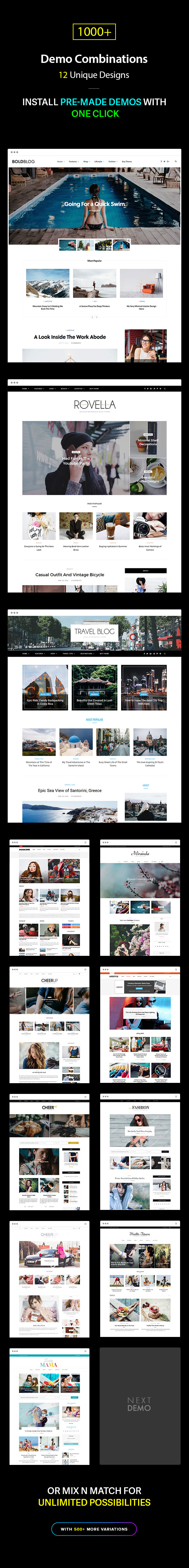 Multiple Blog and Magazine Layouts, 11+ Unique Designs