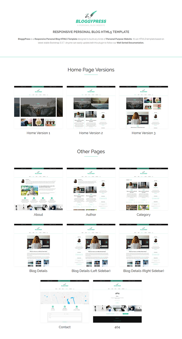 BloggyPress | Responsive Personal Blog HTML5 Template