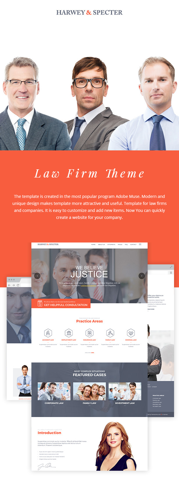 Harvey & Specter | Law Firm Muse Template Premium