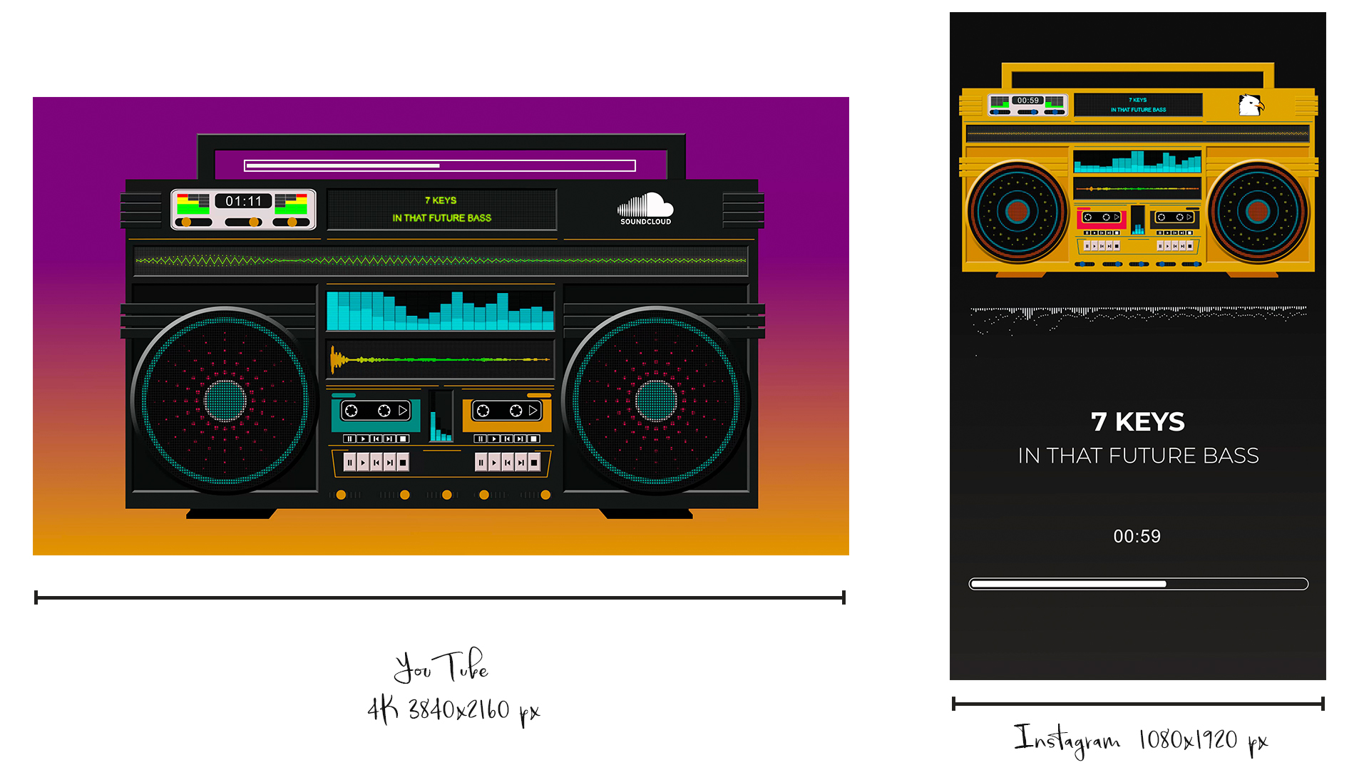 Audio React Spectrum Visualizer with Boombox, Cassette Tape, Vinyl Plate and Vinyl Player Equalizer - 4