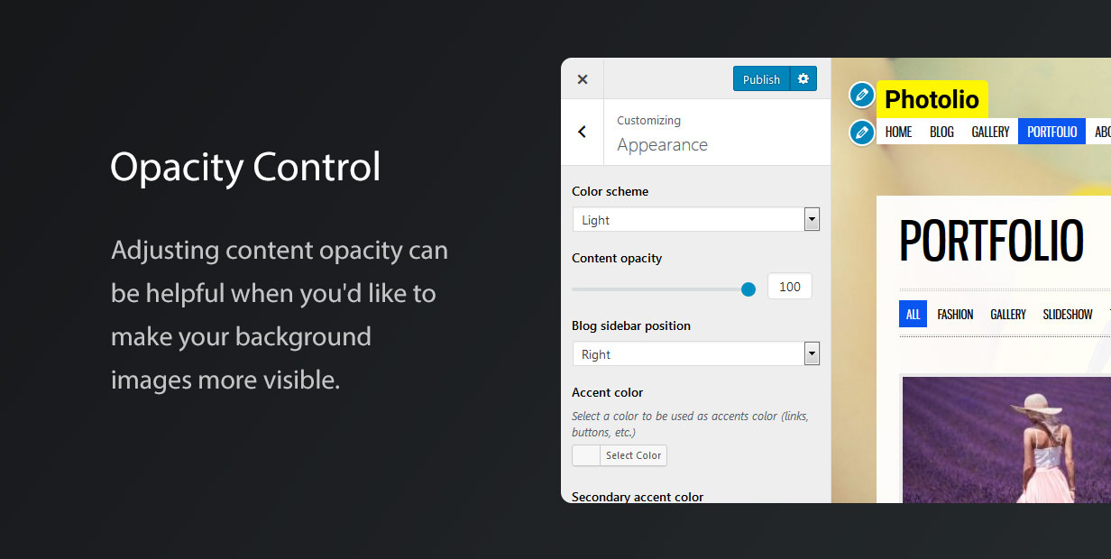 Photolio WordPress Theme Opacity Control