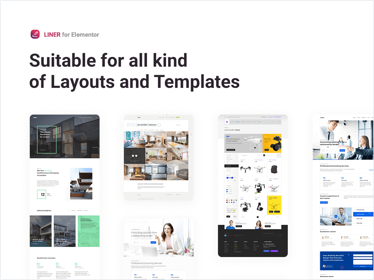 Suitable for all kind of Layouts and Templates