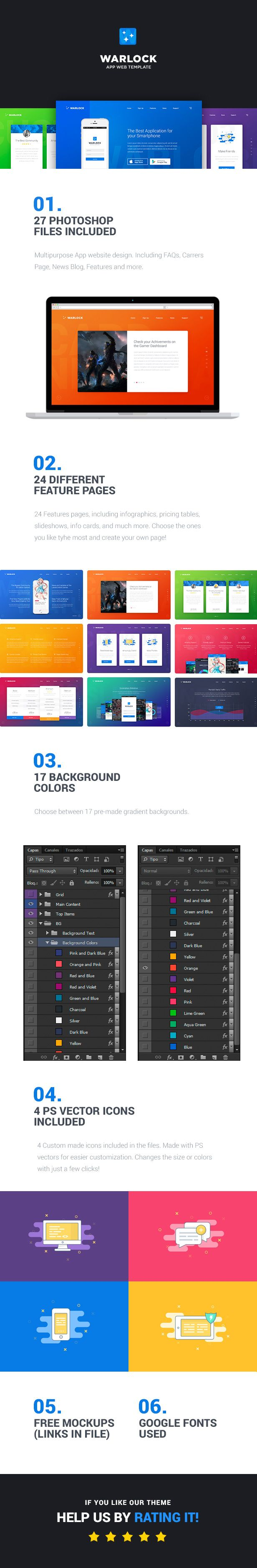Warlock App PSD Template - 7