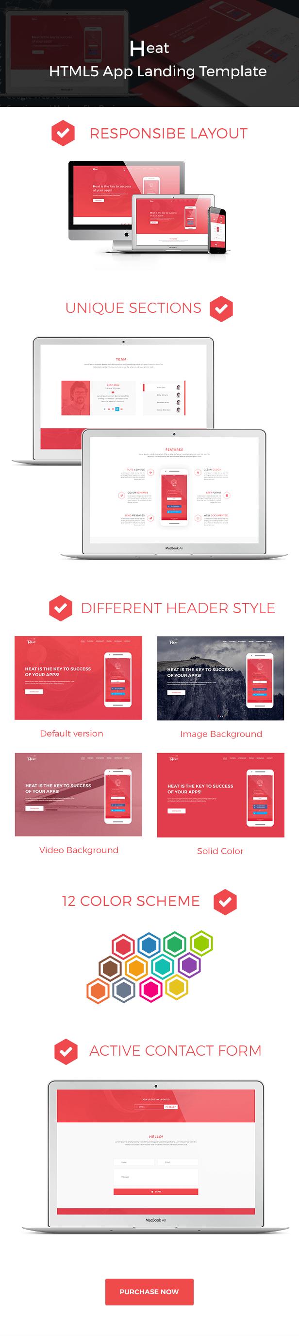 Heat - Responsive HTML5 App Landing Template