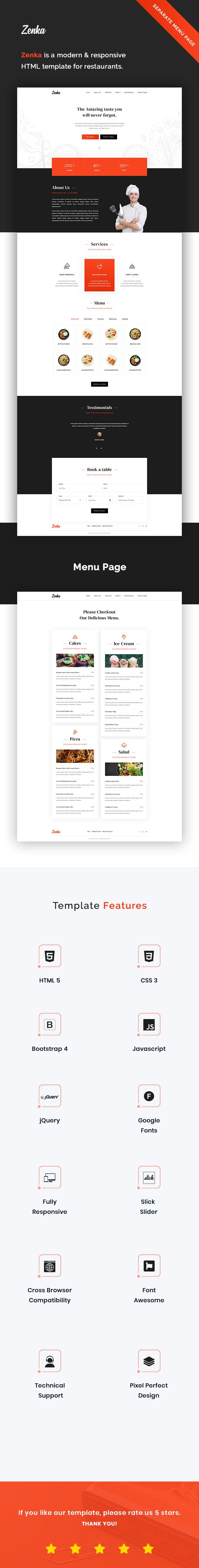 Zenka - Responsive Restaurant HTML Template - 1