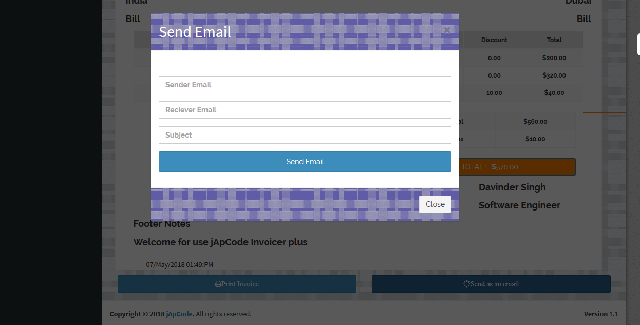 Invoicer Plus (Invoice Generator) Open Source Asp.net Mvc  5 Print | Email | Edit able Invoice - 5