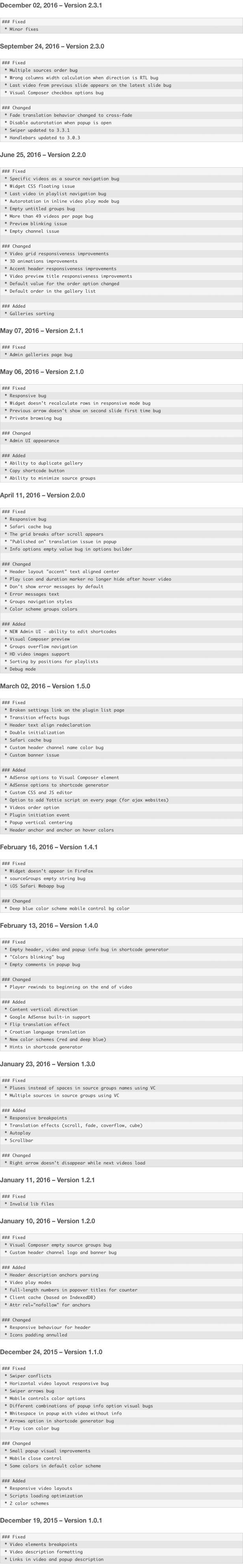 Yottie WordPress Plugin changelog