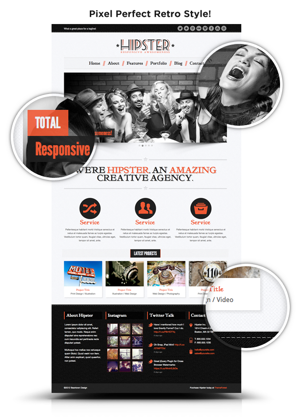Hipster: Retro Responsive HTML5 Template - 1