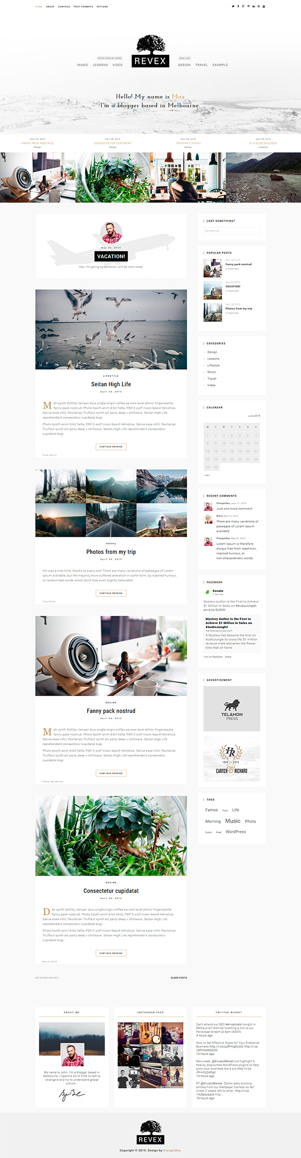REVEX - Personal Blog HTML Template - 2