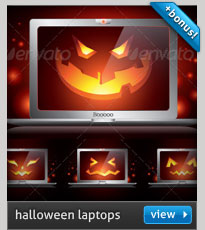 halloween background with laptop