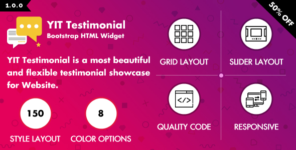 YIT Testimonial is a multiple colors and styles showcase for Website.