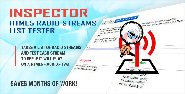 inspector html5 radio streams list tester