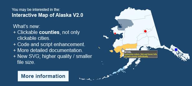 Interactive Map of Alaska  - Clickable Counties