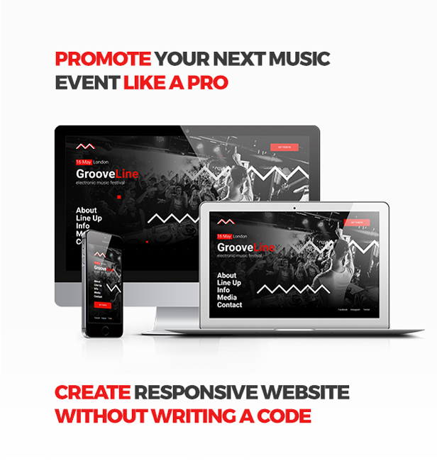 GrooveLine - Music Event / Festival / DJ Party Responsive Muse Template - 1