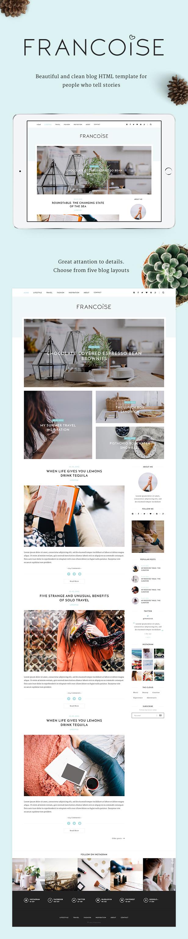 Francoise - Blog HTML Template by HighSea | ThemeForest