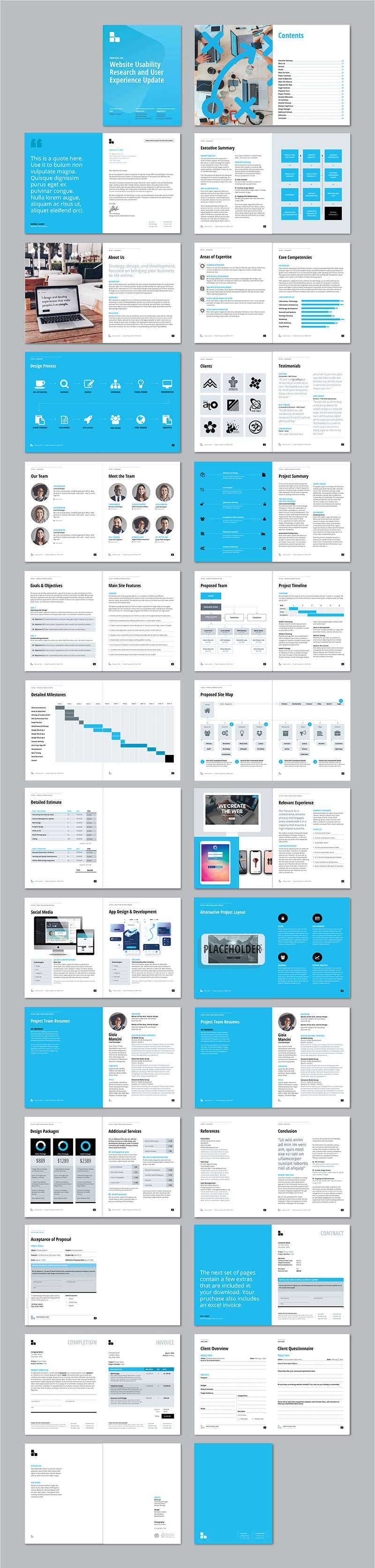 Thumbnails of all pages in the web design proposal template