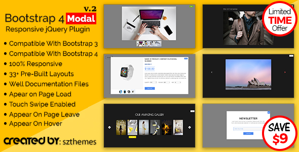 Bootstrap 4 Modal Responsive jQuery Plugin