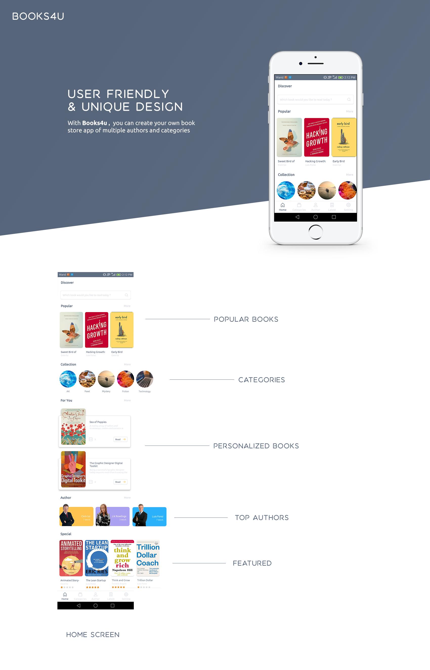 Books4u - Android Ebook App + Admin panel - 1