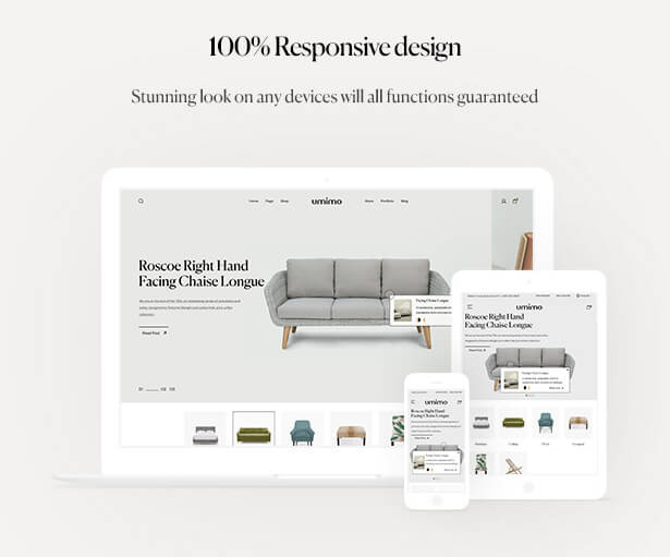 100% Responsive design Stunning look on any devices will all functions guaranteed