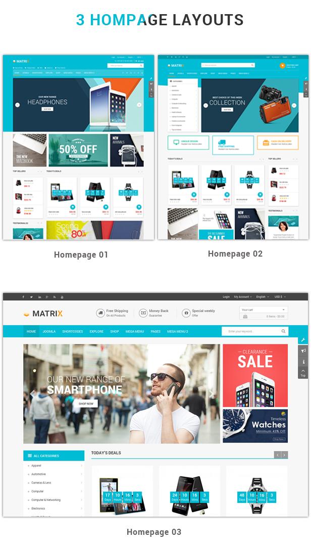 4 homepage layouts