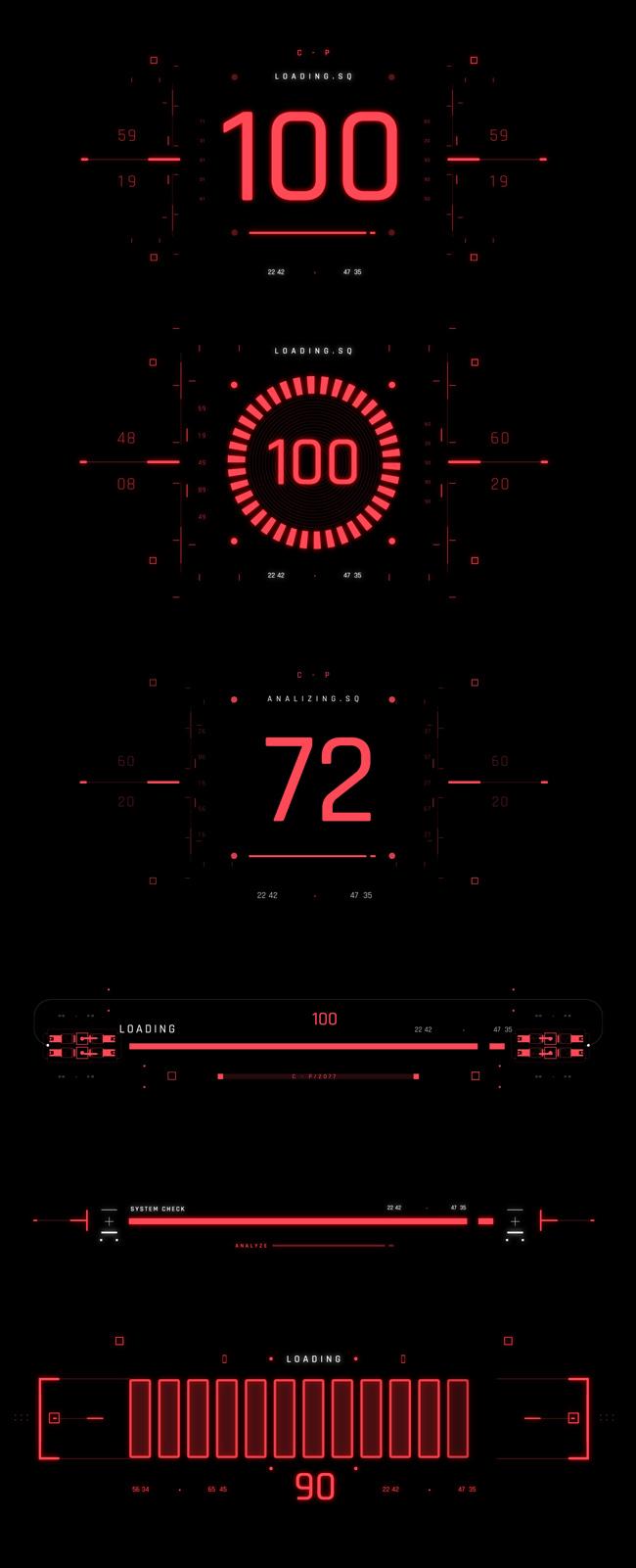 AE脚本-500个HUD高科技赛博朋克UI科幻界面元素动画预设包 Cyberpunk HUD UI 500+ 已修复中文版AE表达式报错插图22