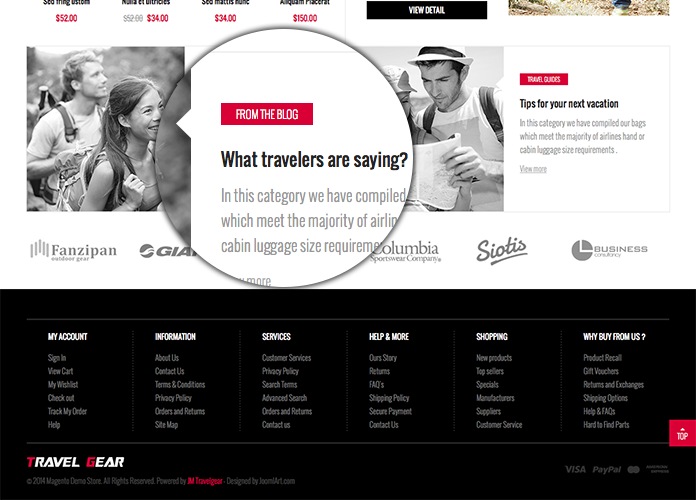 Blog section in Responsive Magento theme TravelGear