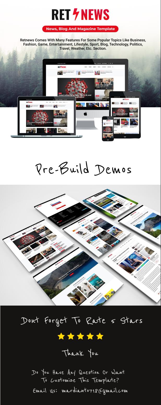 Retnews - Responsive News, Blog & Magazine template