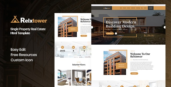 Relxtower - Single Property Real Estate  HTML Template - Business Corporate