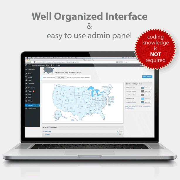 Well organized admin panel interface