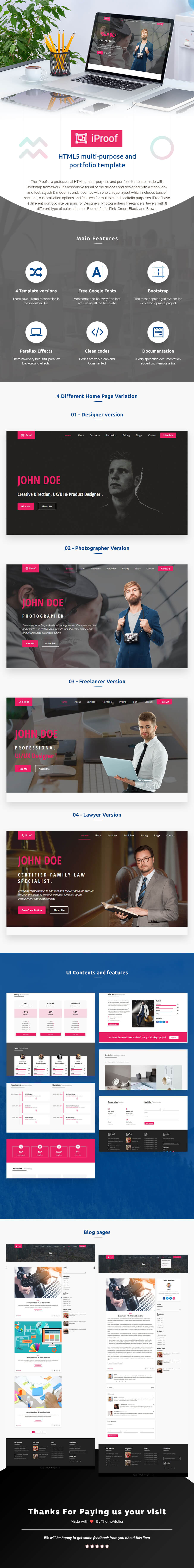 iProof - Multipurpose HTML Template - themeforest, site-templates, creative