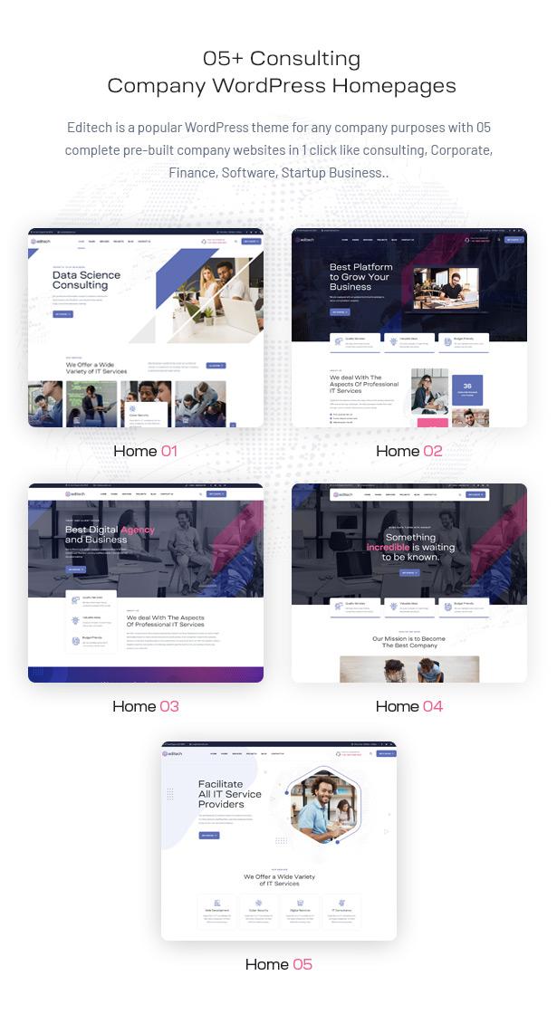 Editech Corporate Business WordPress Theme - 05+ Corporate Business Homepages