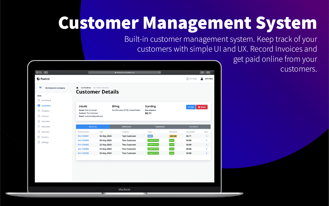 Foxtrot (SaaS) - Customer, Invoice and Expense Management System - 6