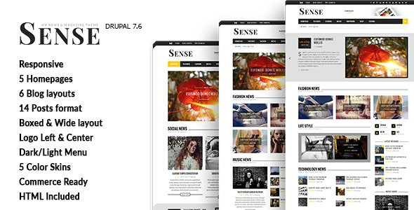 Sense - Blog Magazine & News Drupal 7.6 Theme