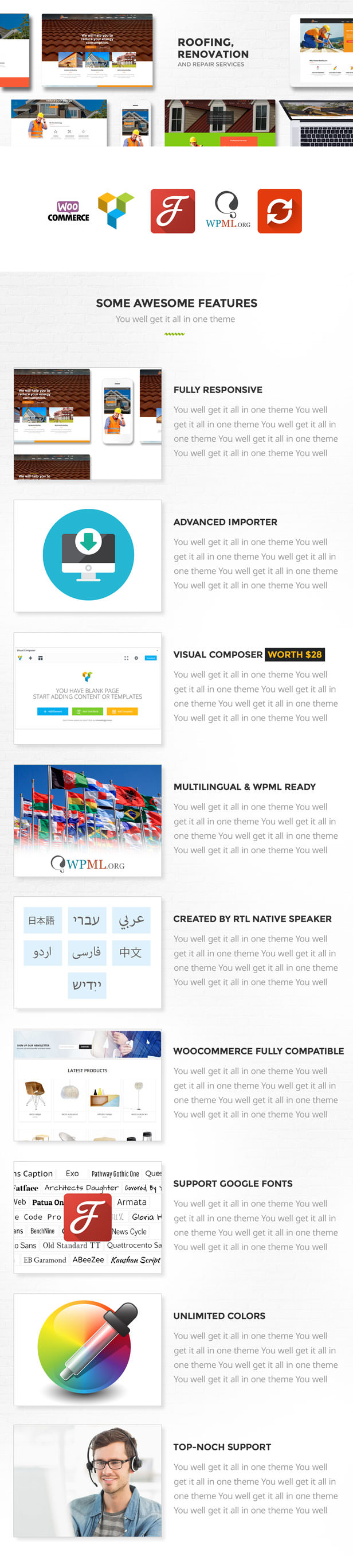 Roofing, Renovation & Repair Service WordPress theme