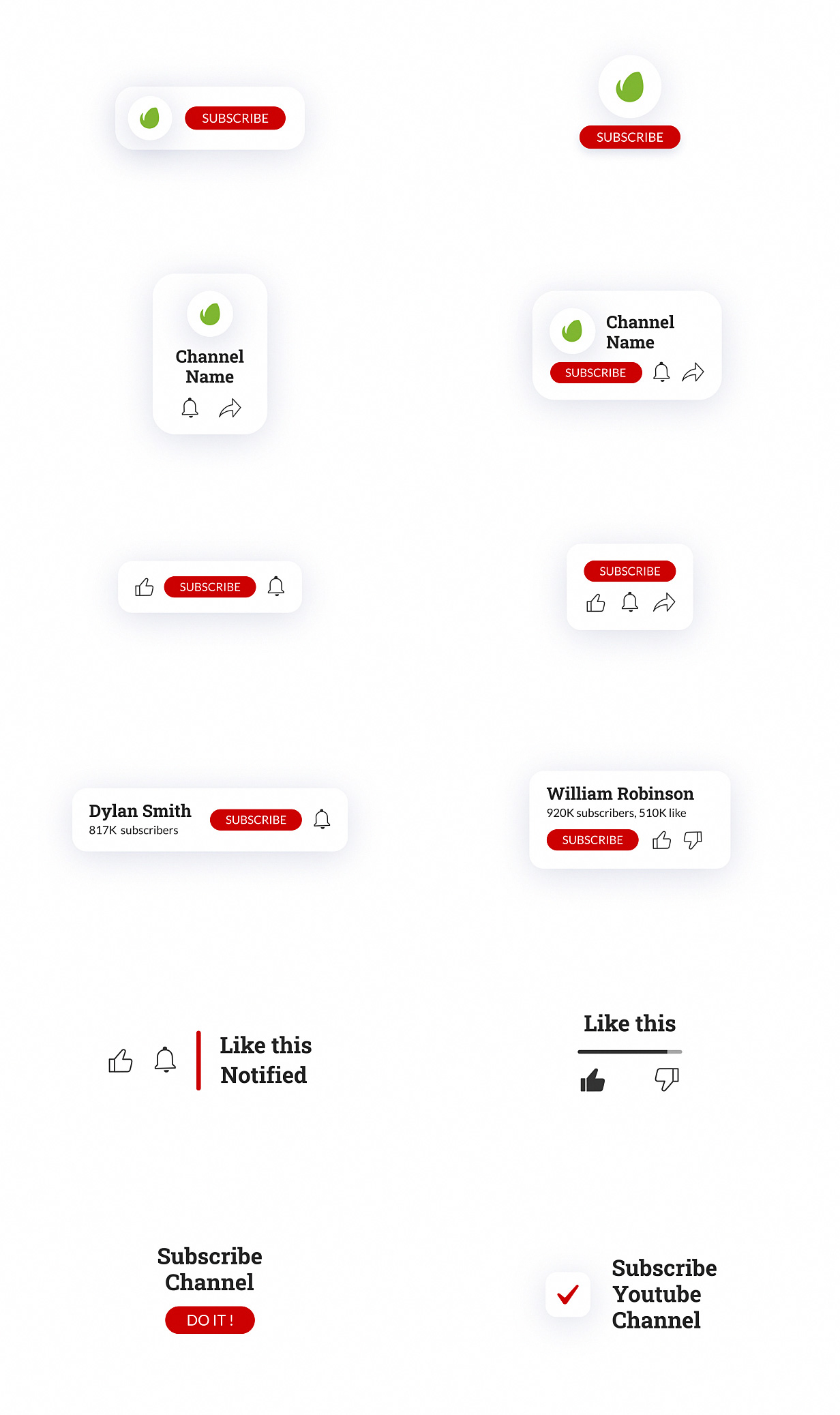 YouTube Buttons Pack - 14