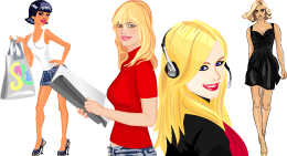 Vector beautiful blond girl telephone operator - 8