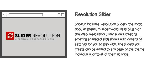 shogun features - revolution slider