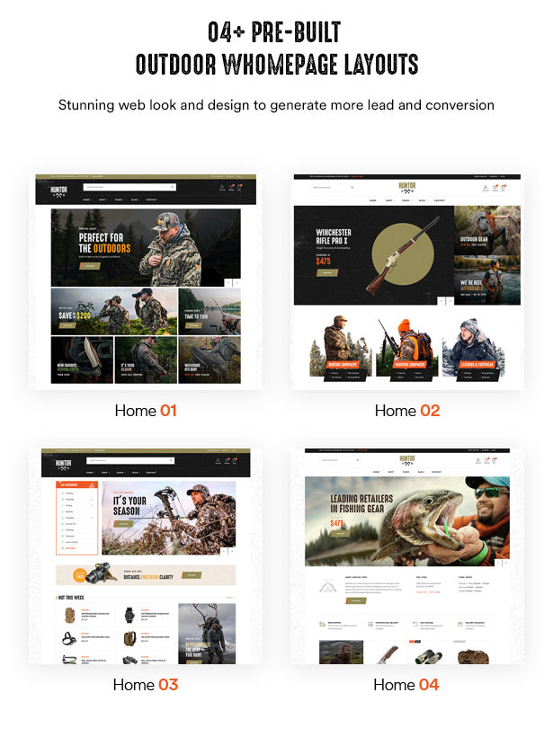 04+ Pre-built Hunting & Outdoor Homepage Layouts Stunning web look and design to generate more lead and conversion
