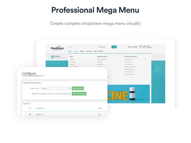 Professional Mega Menu Create complex dropdown mega menu visually