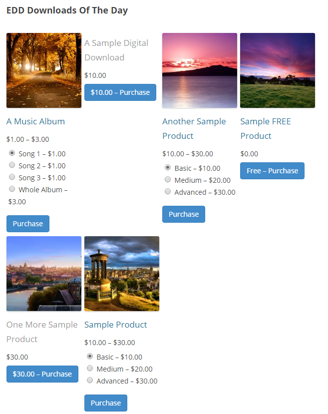Downloads of the day - 4 column shortcode view