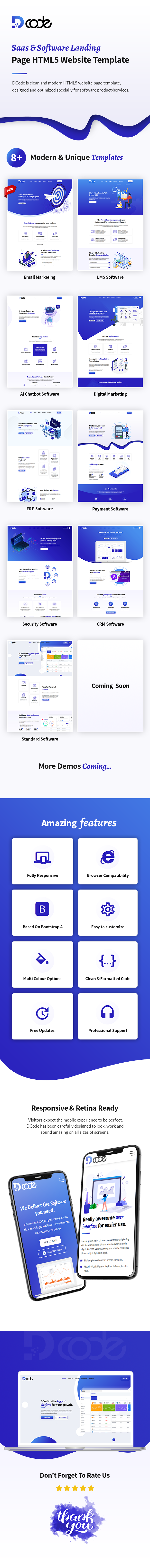 DCode - SaaS & Software Responsive Landing Page Template - 6