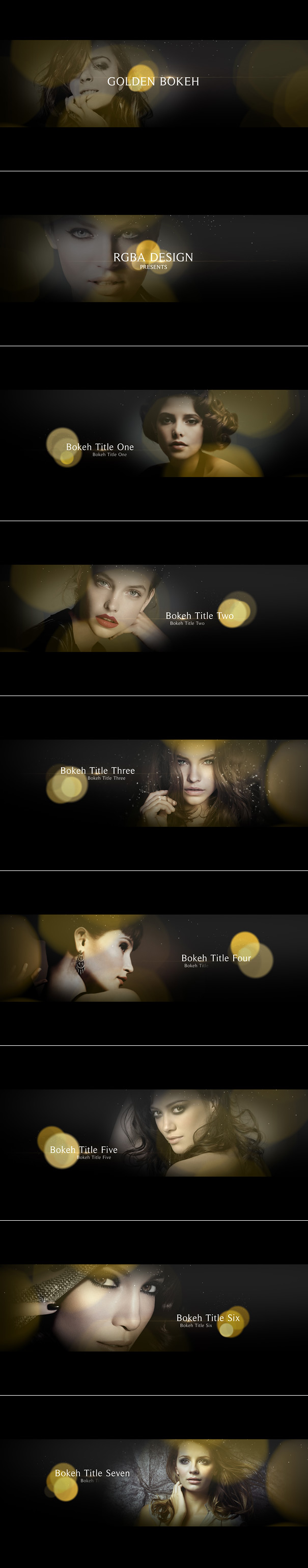 Golden Bokeh Titles After Effects Template for romantic occasion, beautiful love story, movie / TV titles